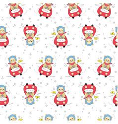 cartoon cute bear driving seamless pattern vector image