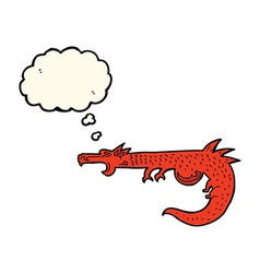 Cartoon medieval dragon with thought bubble vector
