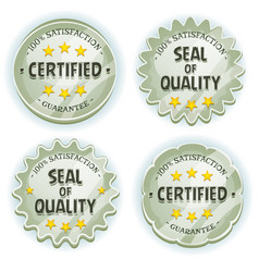 Cartoon silver premium quality seals vector