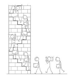 Cartoon workers carrying stone blocks as vector
