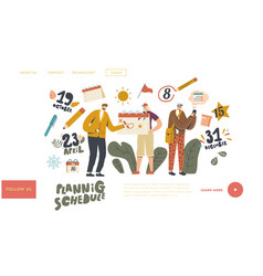 characters use calendar landing page template vector image