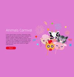 Childish animal masks cock pig cow sheep cat vector