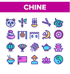 China collection nation elements icons set vector