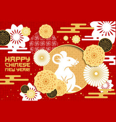 chinese new year zodiac rat or mouse with flowers vector image