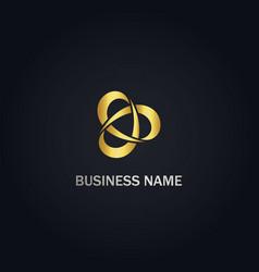 Circle technology company gold logo vector