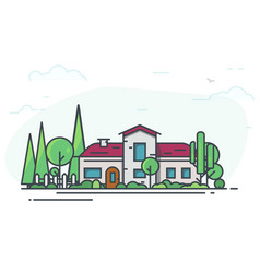 classic house with garden vector image