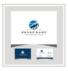 Cloud finance logo design and business card vector