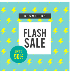 cosmetics flash sale up to 50 blue background vec vector image