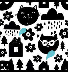 creative seamless background with black cat heads vector image
