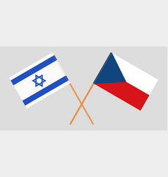 Crossed flags of czech republic and israel vector