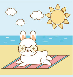 cute hare sunbathing kawaii rabbit on the beach vector image vector image