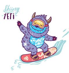 Cute yeti snowboarding print vector