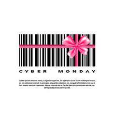 cyber monday background with bar code and pink bow vector image