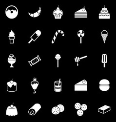 Dessert icons on black background vector image