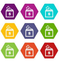 donation box icon set color hexahedron vector image