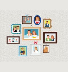 family frames set people portrait pictures faces vector image