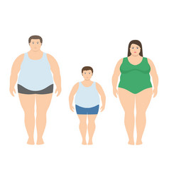 Fat man woman and child in flat style vector