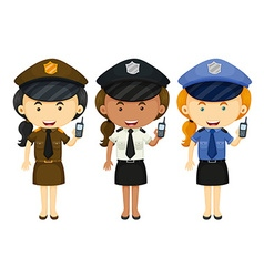 Female police in three different uniforms vector image