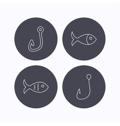 Fishing hook and fish icons vector