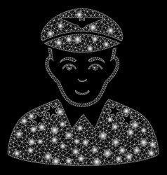 Flare mesh network military pilot officer with vector