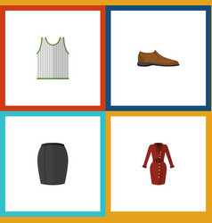 Flat icon garment set of stylish apparel male vector