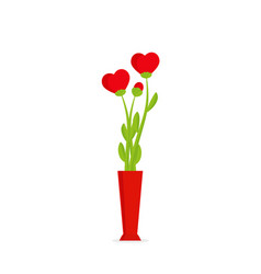 flowers hearts in red vase vector image
