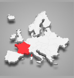 france country location within europe 3d map vector image