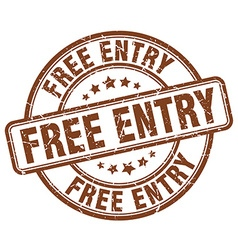 free entry brown grunge round vintage rubber stamp vector image