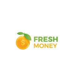 fresh money logo gold apple and dollar coin vector image