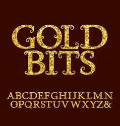 golden letters incrusted glittering fragments vector image