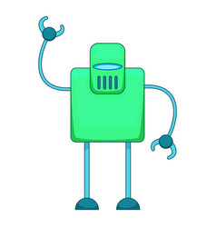Green retro robot icon cartoon style vector