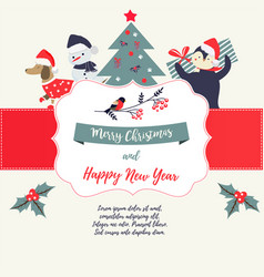 Greeting card with holiday elements and characters vector