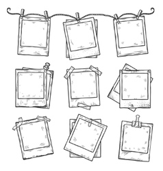 Hand drawn vintage photo frame doodle set vector