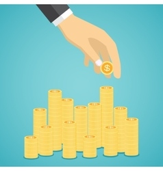 Hand put coin to stacks of golden coins vector