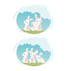 happy easter day cute white rabbits in grass vector image