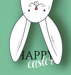Happy easter Rabbit looks and greeting calligraphy vector
