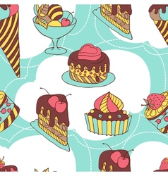 Holiday seamless pattern from sweet cakes and vector image