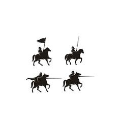 horseback knight armor horse warrior logo vector image
