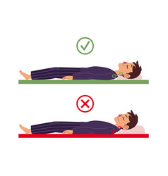 Incorrect correct back sleeping man posture vector