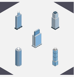 isometric construction set of urban business vector image