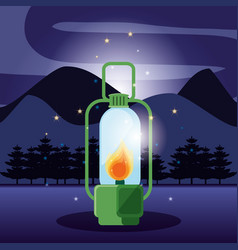 Lantern in landscape of camping zone vector
