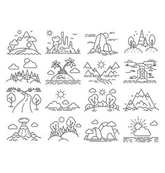 Line nature landscape forest trees mountain vector