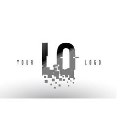 Lo l o pixel letter logo with digital shattered vector