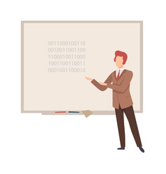 man stands near blackboard and teaches vector image