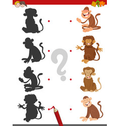 Match shadows game with monkeys vector