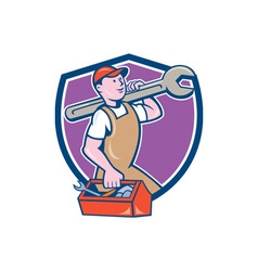 Mechanic Carrying Spanner Toolbox Crest Cartoon vector