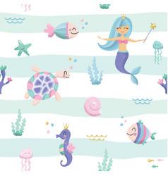 Mermaid seamless pattern background cute cartoon vector
