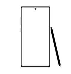 Modern wireframe smartphone with stylus isolated vector
