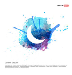 Moon icon - watercolor background vector