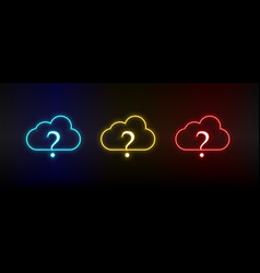 Neon icons cloud faq cloud support set red vector